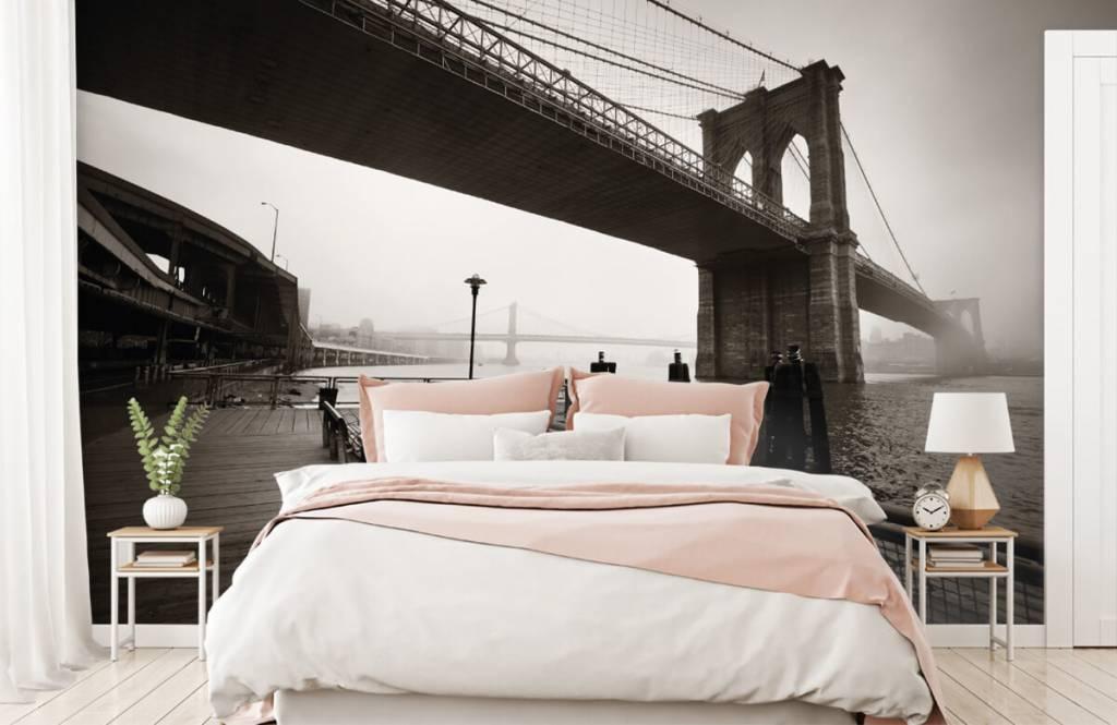 Zwart Wit behang - Brooklyn Bridge - Tienerkamer 2