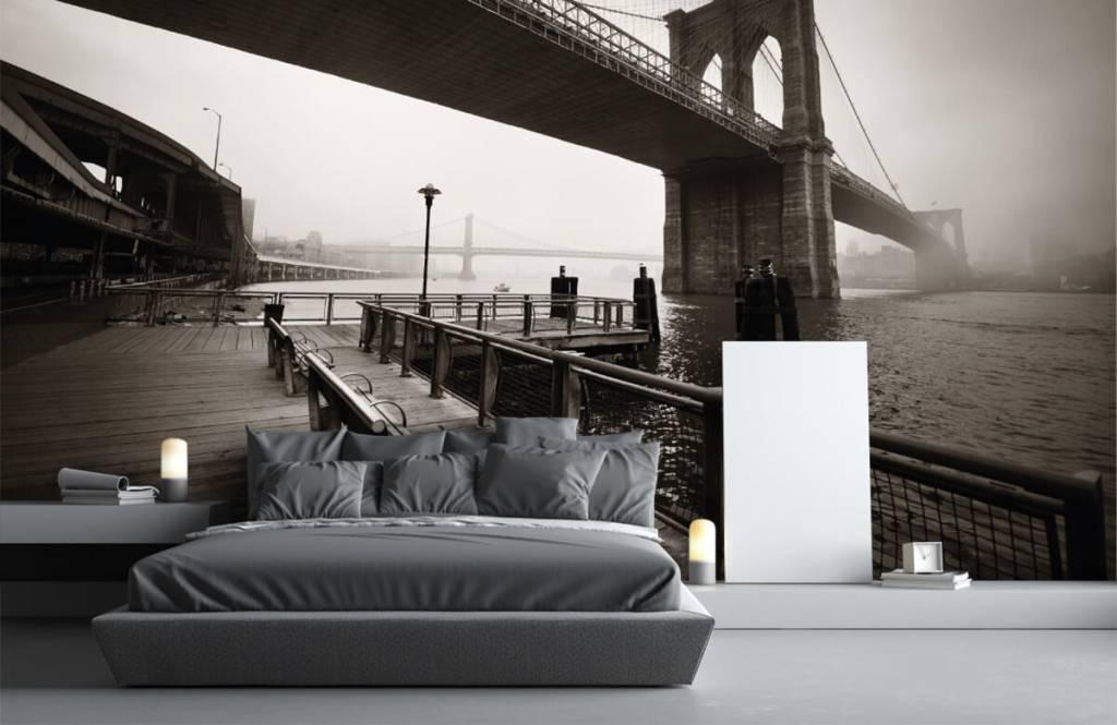 Zwart Wit behang - Brooklyn Bridge - Tienerkamer 3