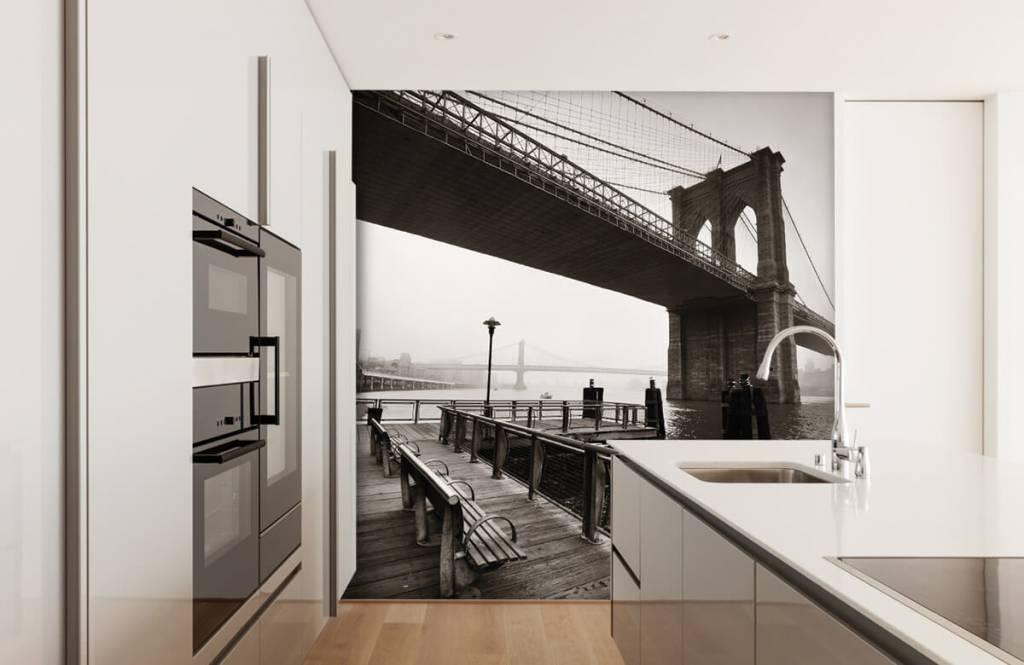 Zwart Wit behang - Brooklyn Bridge - Tienerkamer 4