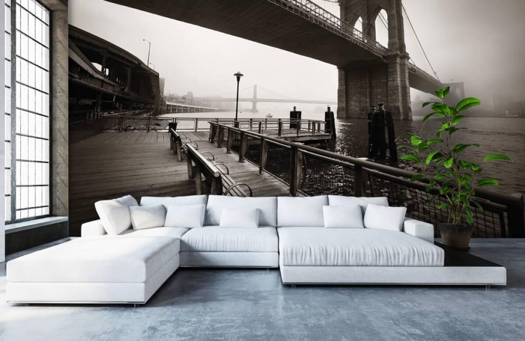 Zwart Wit behang - Brooklyn Bridge - Tienerkamer 6
