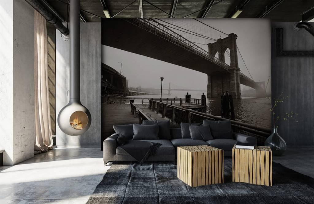 Zwart Wit behang - Brooklyn Bridge - Tienerkamer 7