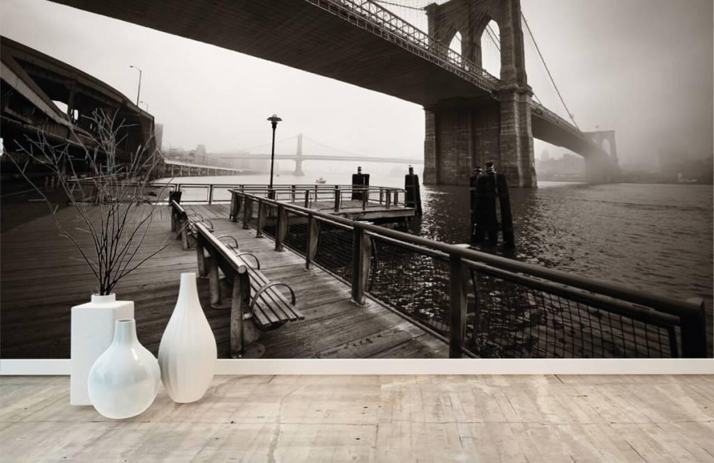 Zwart Wit behang - Brooklyn Bridge - Tienerkamer 8