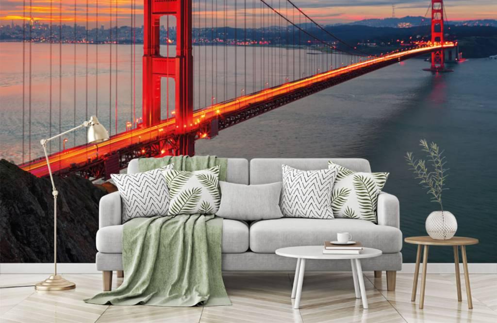 Steden behang - Golden Gate Bridge - Slaapkamer 1