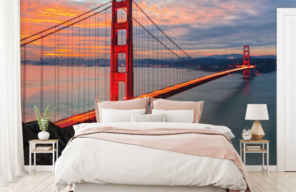 Steden behang - Golden Gate Bridge - Slaapkamer 2