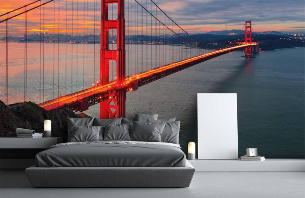 Steden behang - Golden Gate Bridge - Slaapkamer 3