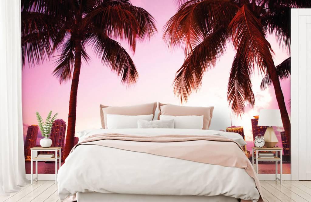 Steden behang - Skyline van Miami - Slaapkamer 1