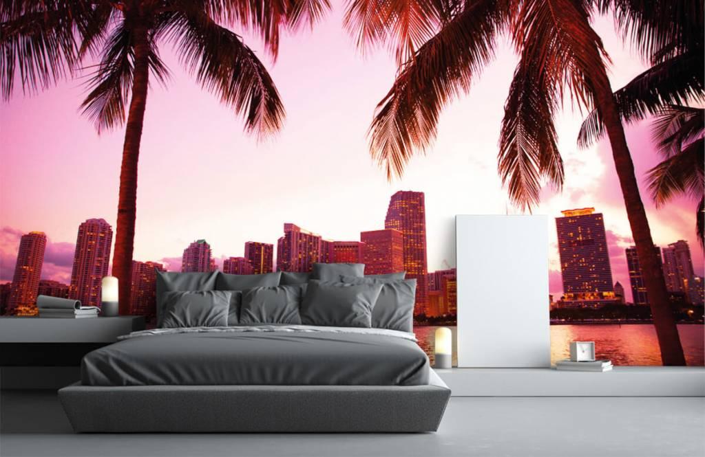 Steden behang - Skyline van Miami - Slaapkamer 2