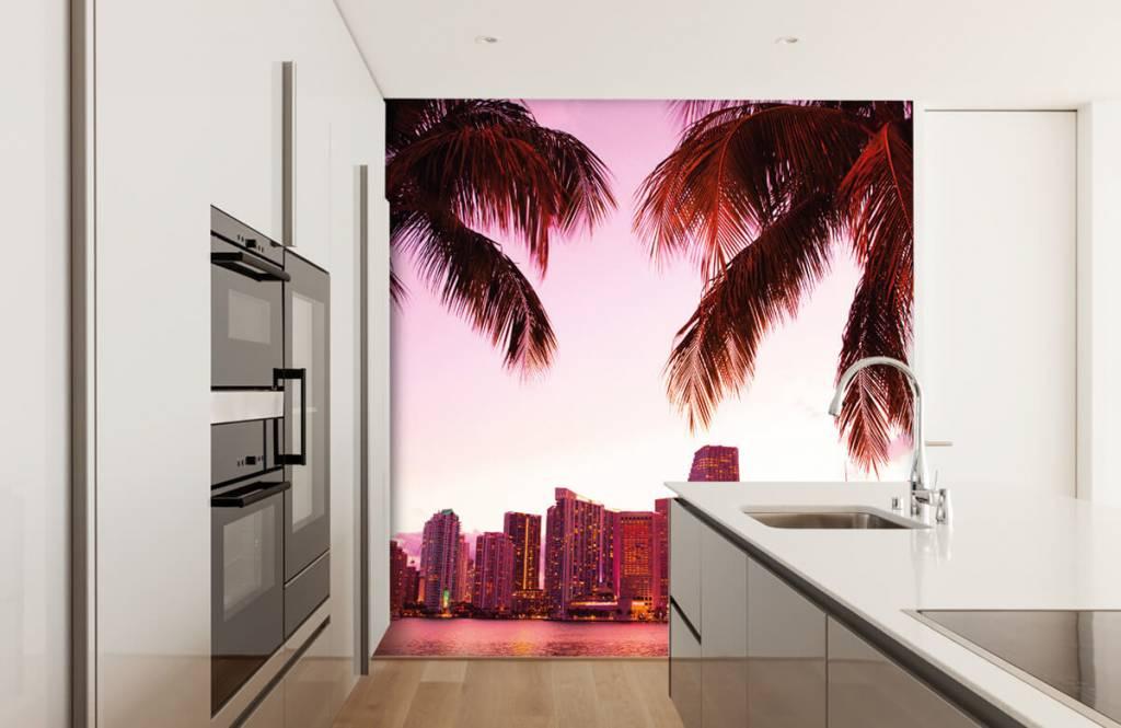 Steden behang - Skyline van Miami - Slaapkamer 3