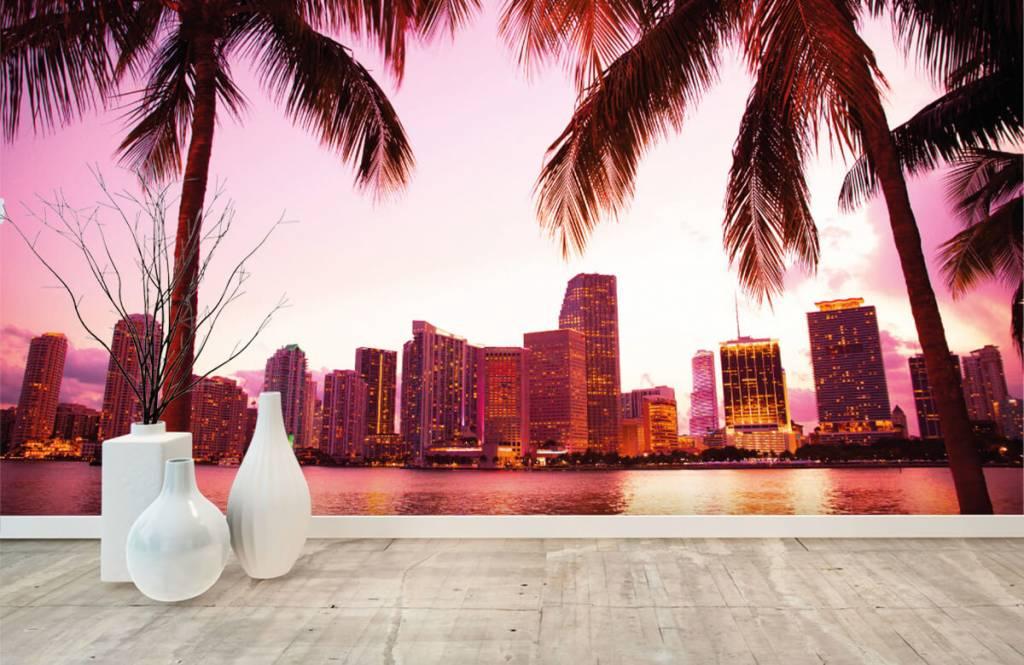 Steden behang - Skyline van Miami - Slaapkamer 8