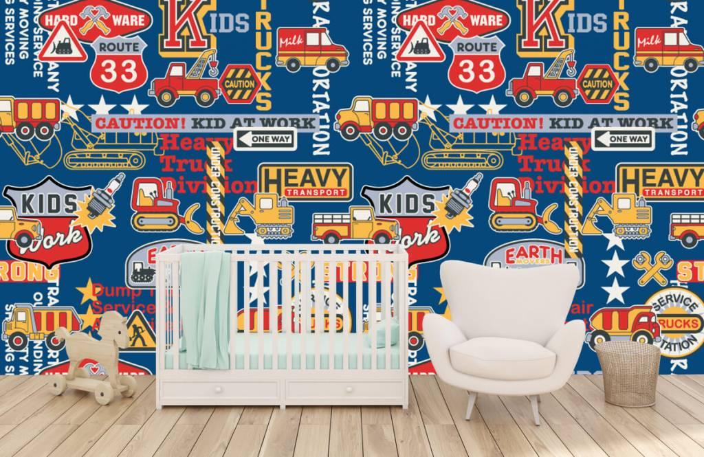 Tekst behang - Bouwverkeer en badges - Kinderkamer 2