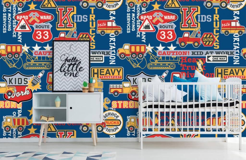 Tekst behang - Bouwverkeer en badges - Kinderkamer 5