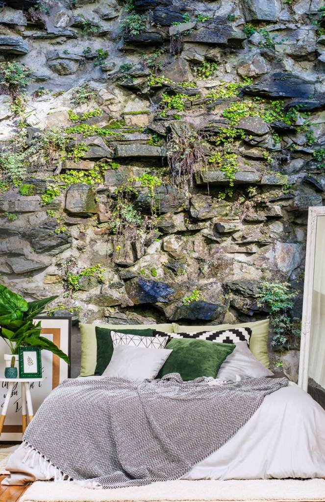 Steen behang - Begroeide muur - Woonkamer 1