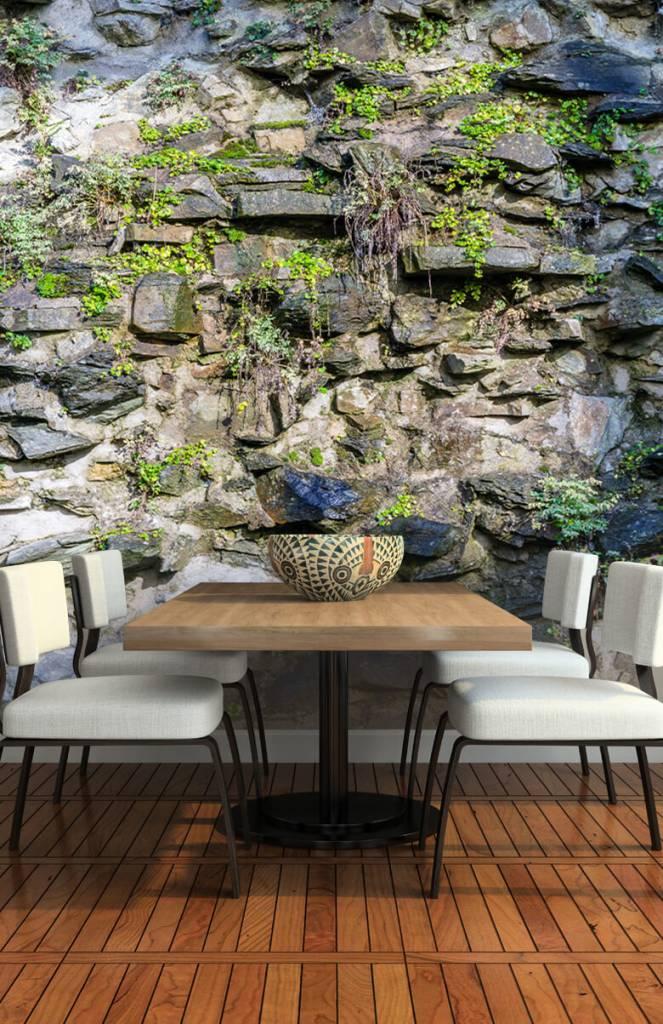 Steen behang - Begroeide muur - Woonkamer 4