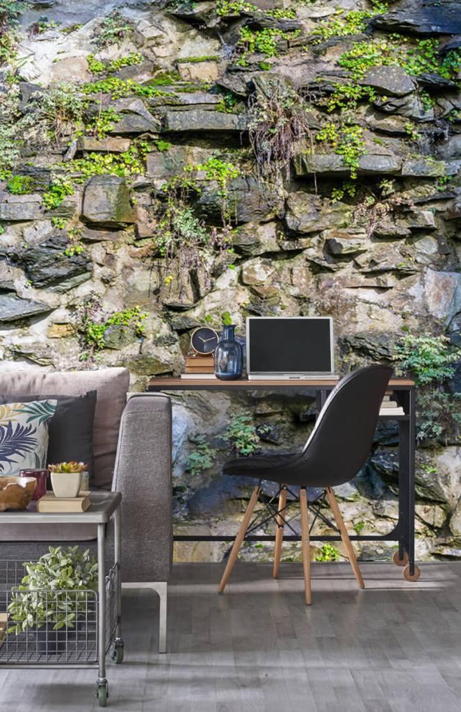 Steen behang - Begroeide muur - Woonkamer 5