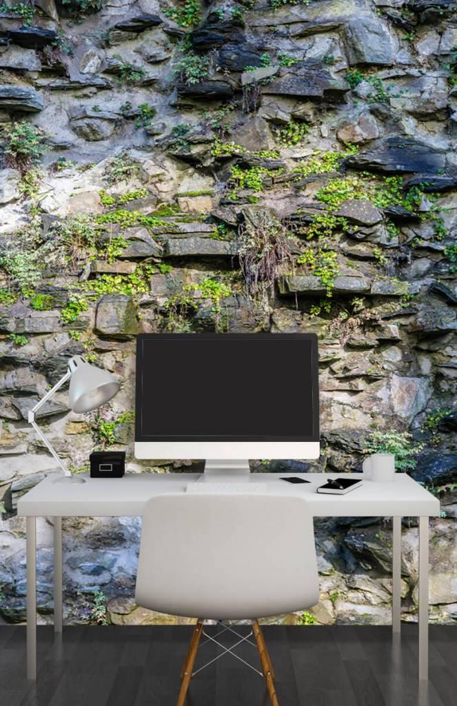 Steen behang - Begroeide muur - Woonkamer 6