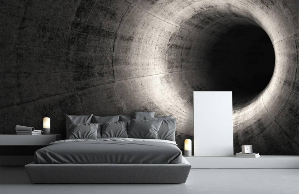 Fotobehang Betonnen 3D tunnel