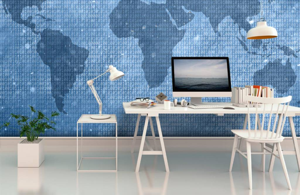 Wereldkaart behang - Binaire wereldkaart - Kantoor 1