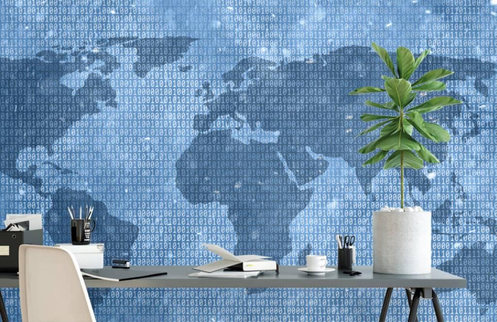 Wereldkaart behang - Binaire wereldkaart - Kantoor 2