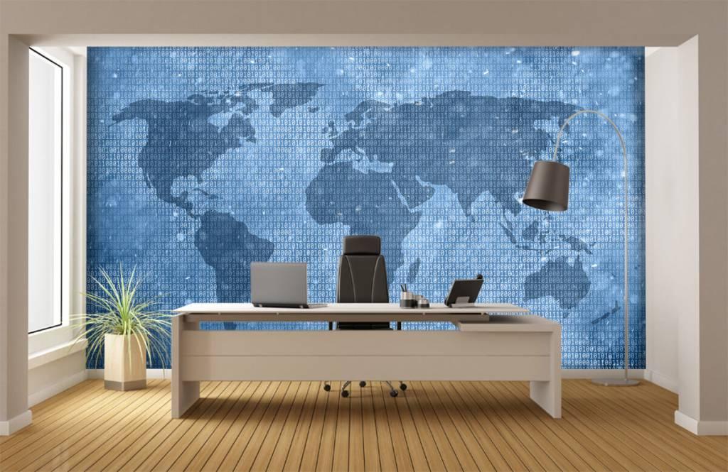 Wereldkaart behang - Binaire wereldkaart - Kantoor 3