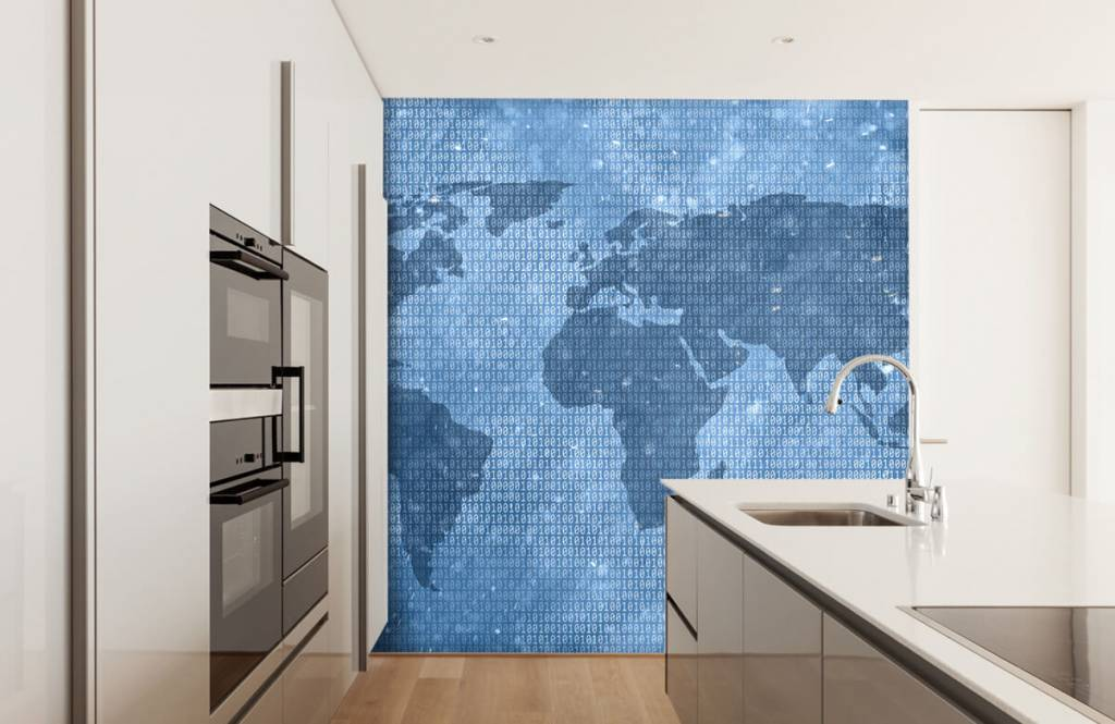 Wereldkaart behang - Binaire wereldkaart - Kantoor 4