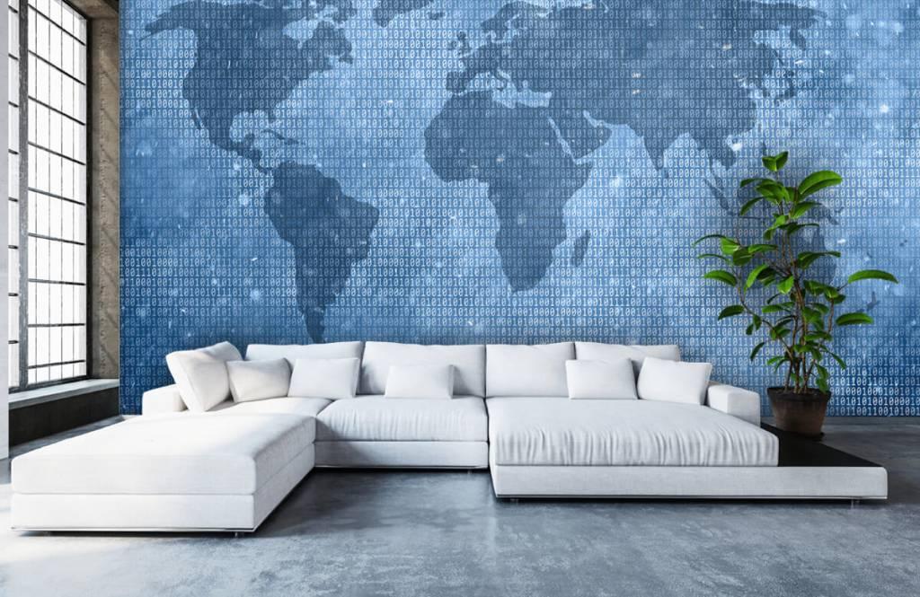 Wereldkaart behang - Binaire wereldkaart - Kantoor 5