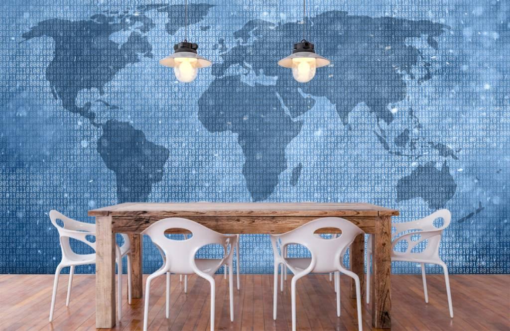 Wereldkaart behang - Binaire wereldkaart - Kantoor 6