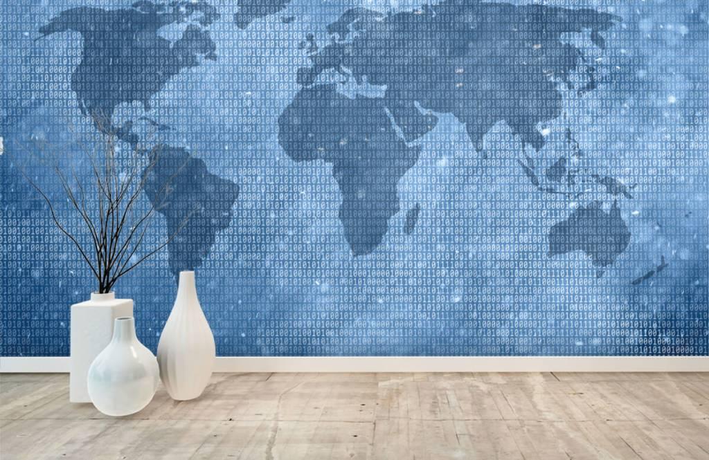 Wereldkaart behang - Binaire wereldkaart - Kantoor 7