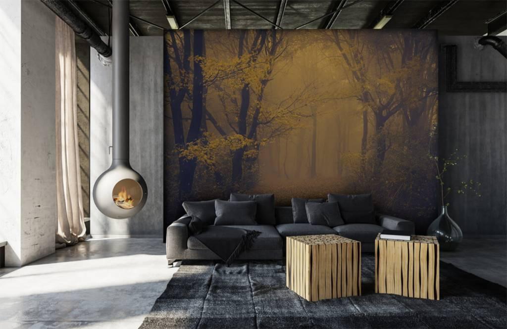 Bos behang - Donkergeel bos - Slaapkamer 1