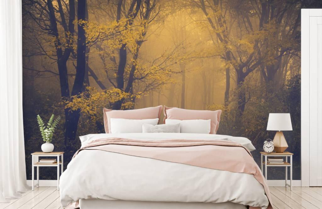 Bos behang - Donkergeel bos - Slaapkamer 2