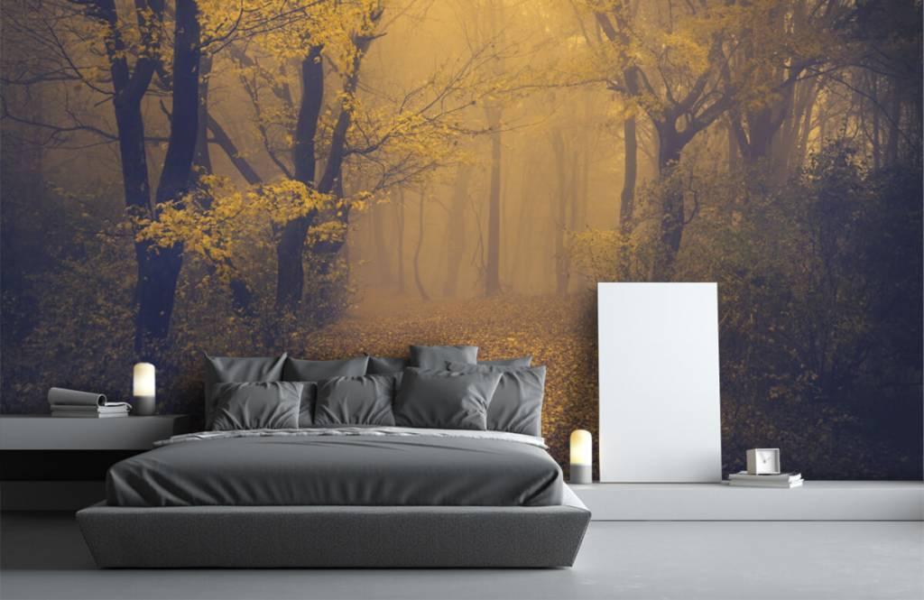 Bos behang - Donkergeel bos - Slaapkamer 3