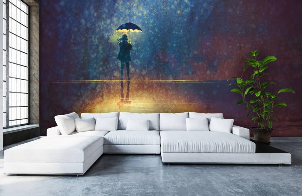 Modern behang - Eenzaam meisje in de regen - Hobbykamer 1
