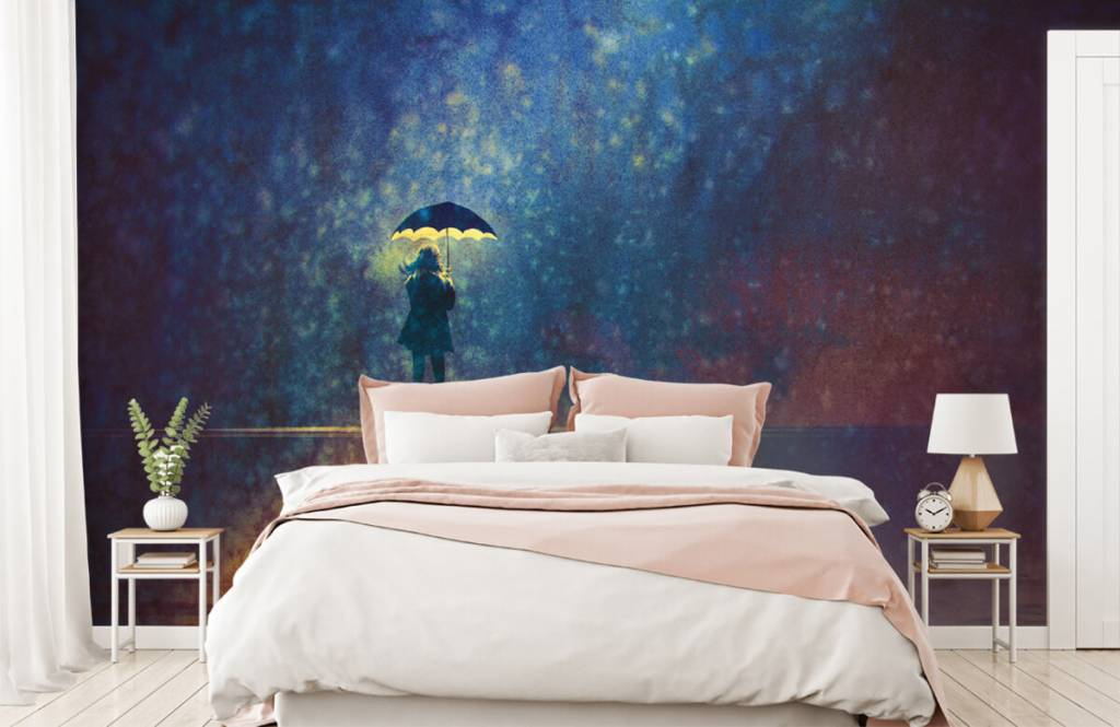 Modern behang - Eenzaam meisje in de regen - Hobbykamer 2