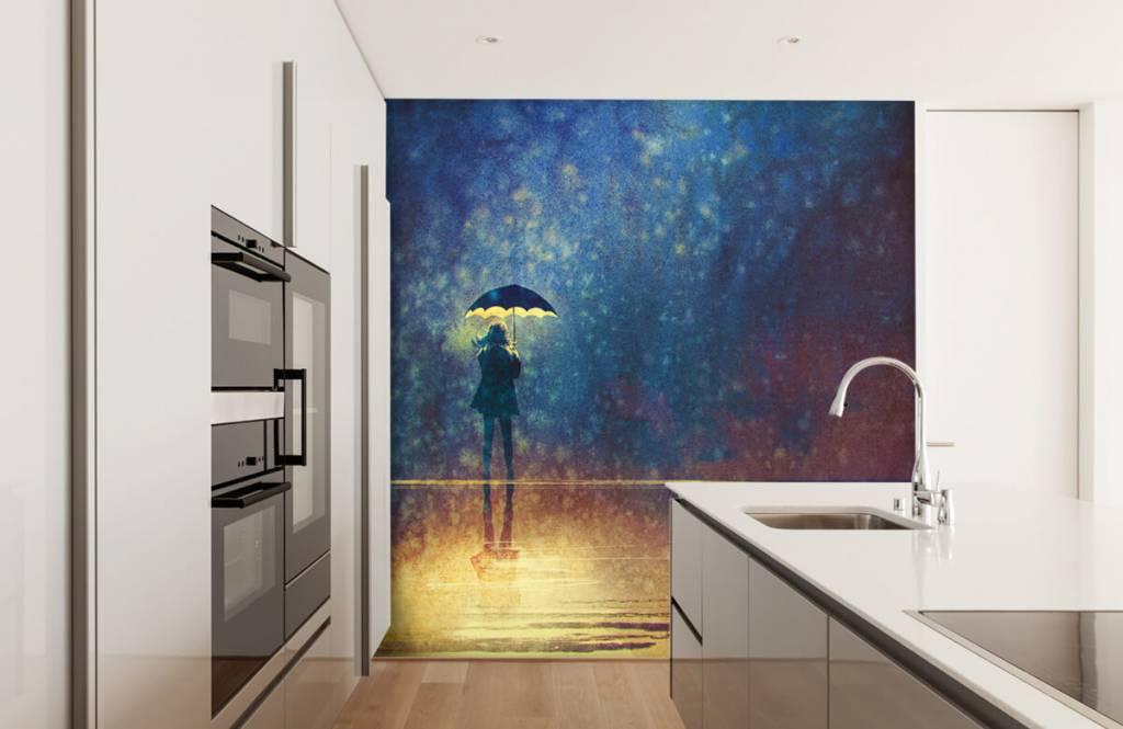 Modern behang - Eenzaam meisje in de regen - Hobbykamer 4