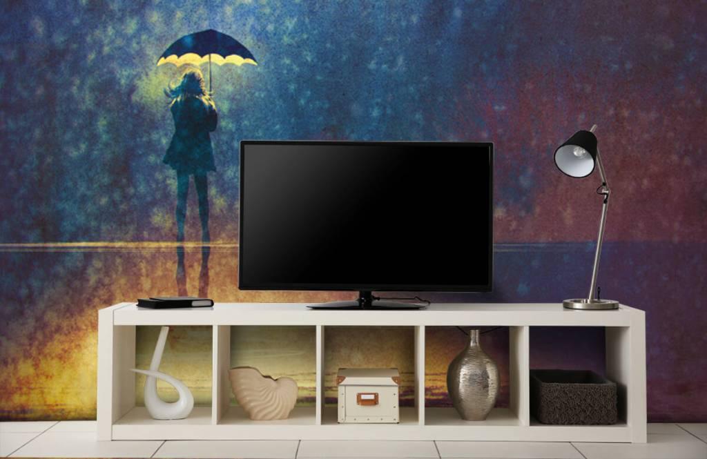 Modern behang - Eenzaam meisje in de regen - Hobbykamer 5