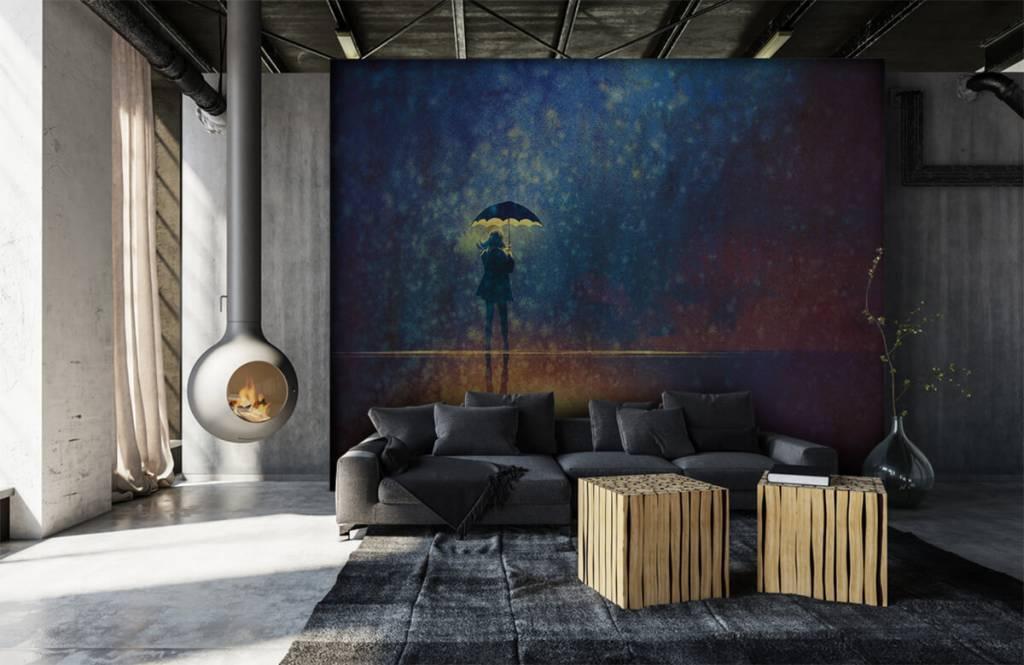 Modern behang - Eenzaam meisje in de regen - Hobbykamer 6