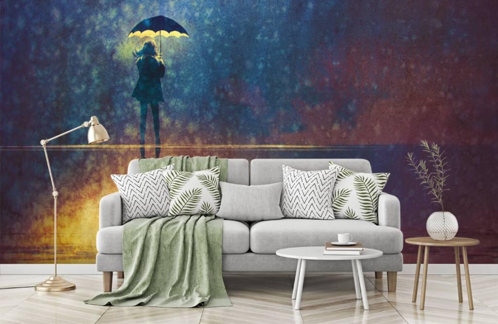 Modern behang - Eenzaam meisje in de regen - Hobbykamer 7