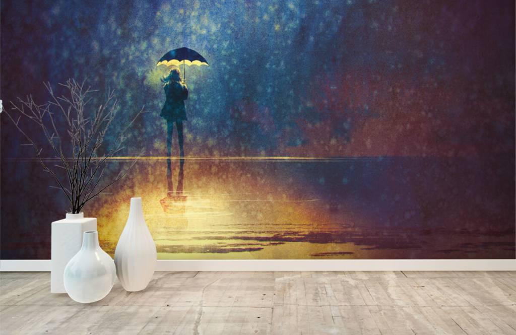 Modern behang - Eenzaam meisje in de regen - Hobbykamer 8