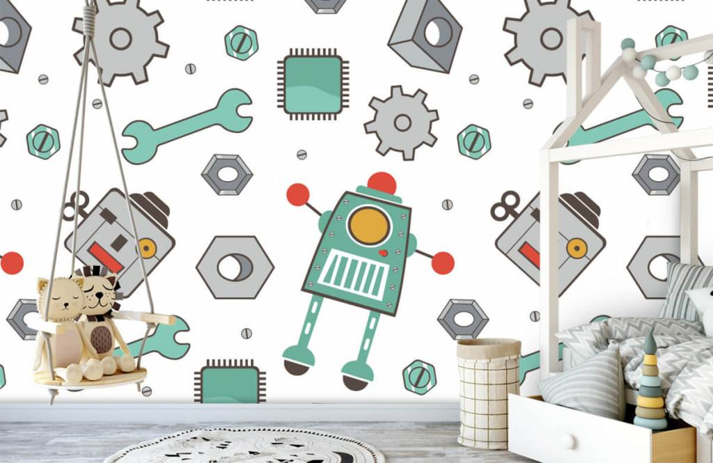 Kinderbehang - Getekende robots - Kinderkamer 1