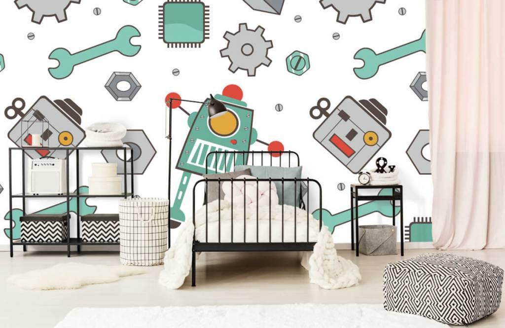 Kinderbehang - Getekende robots - Kinderkamer 2