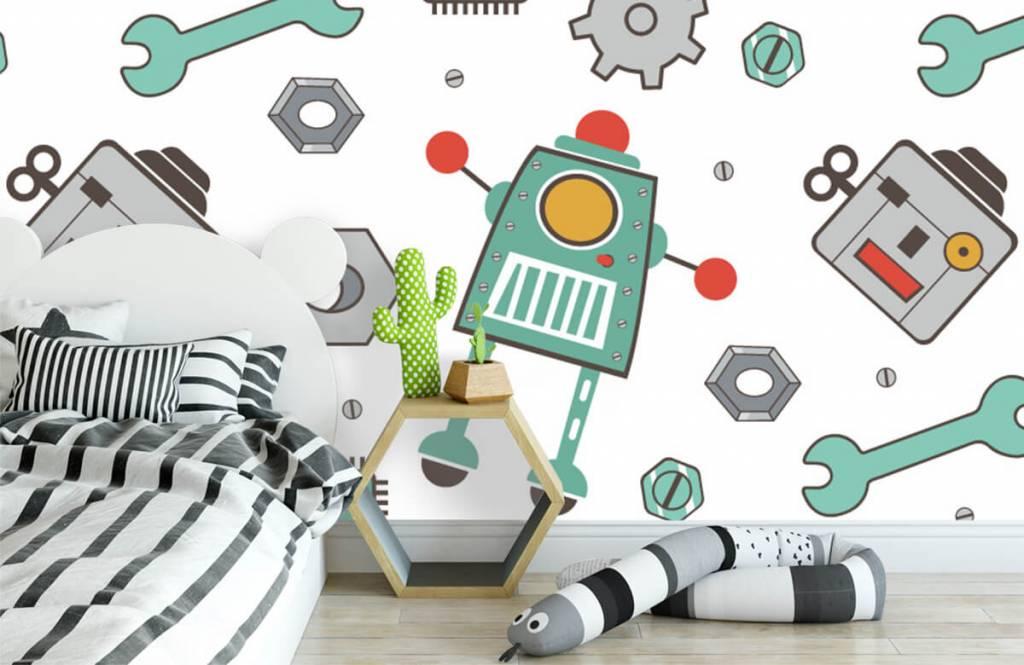Kinderbehang - Getekende robots - Kinderkamer 3