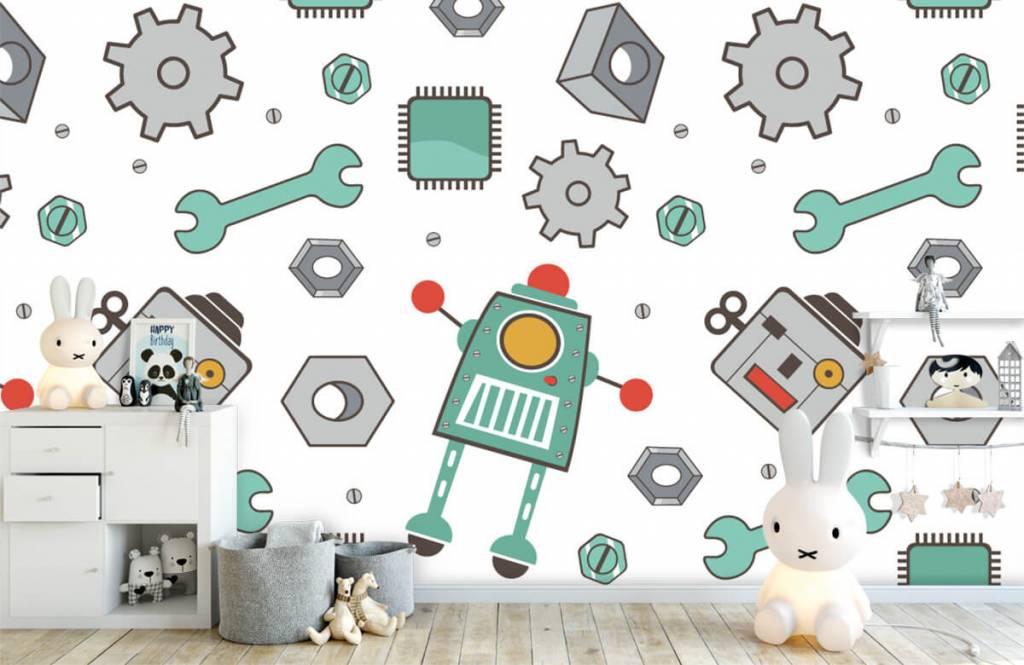 Kinderbehang - Getekende robots - Kinderkamer 4