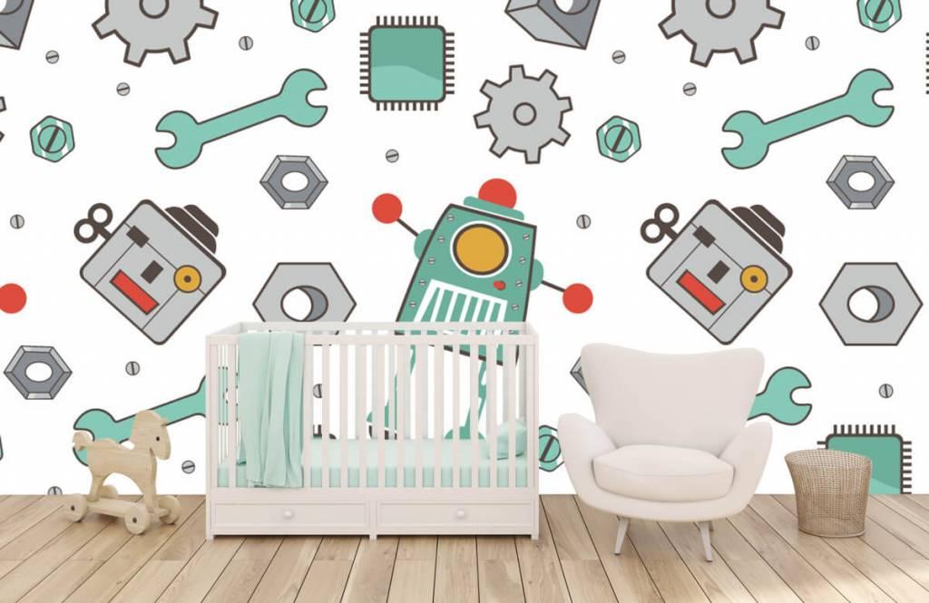 Kinderbehang - Getekende robots - Kinderkamer 5