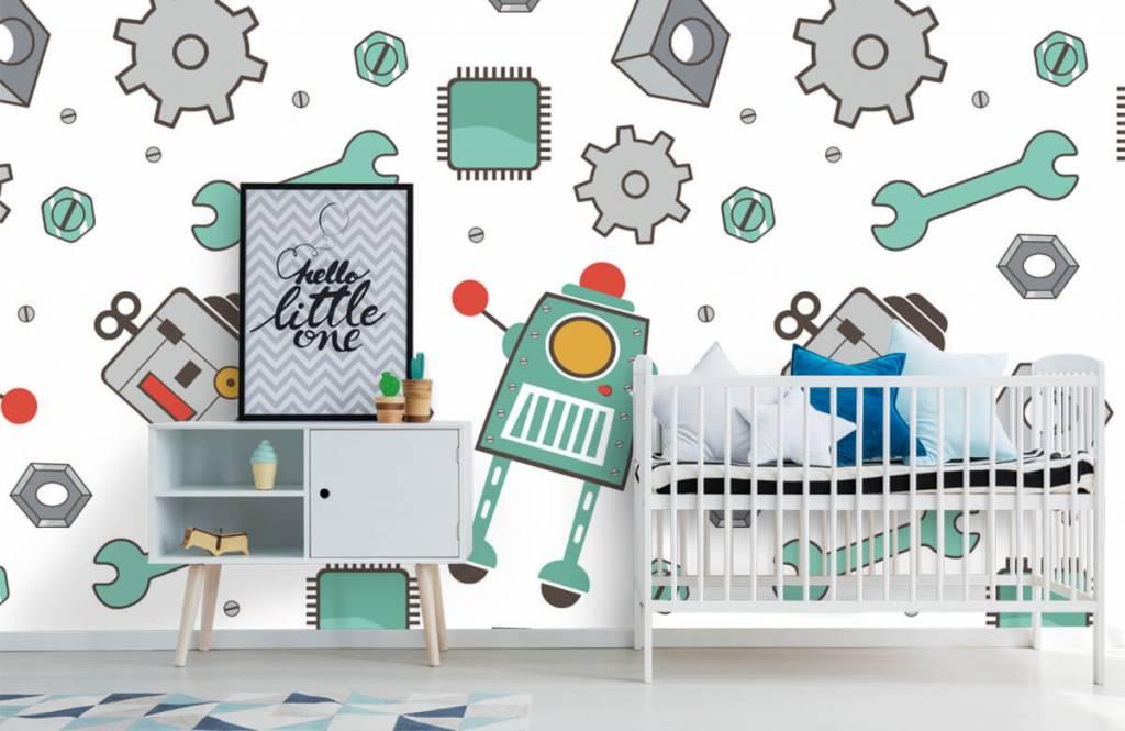 Kinderbehang - Getekende robots - Kinderkamer 6