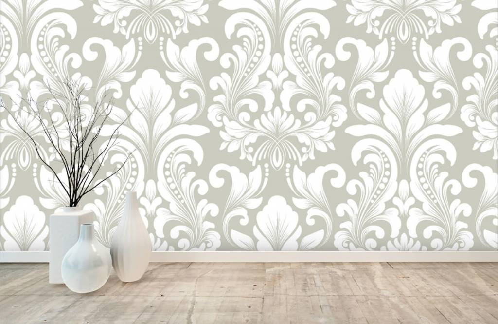 Barok behang - Grijs damast patroon - Slaapkamer 1