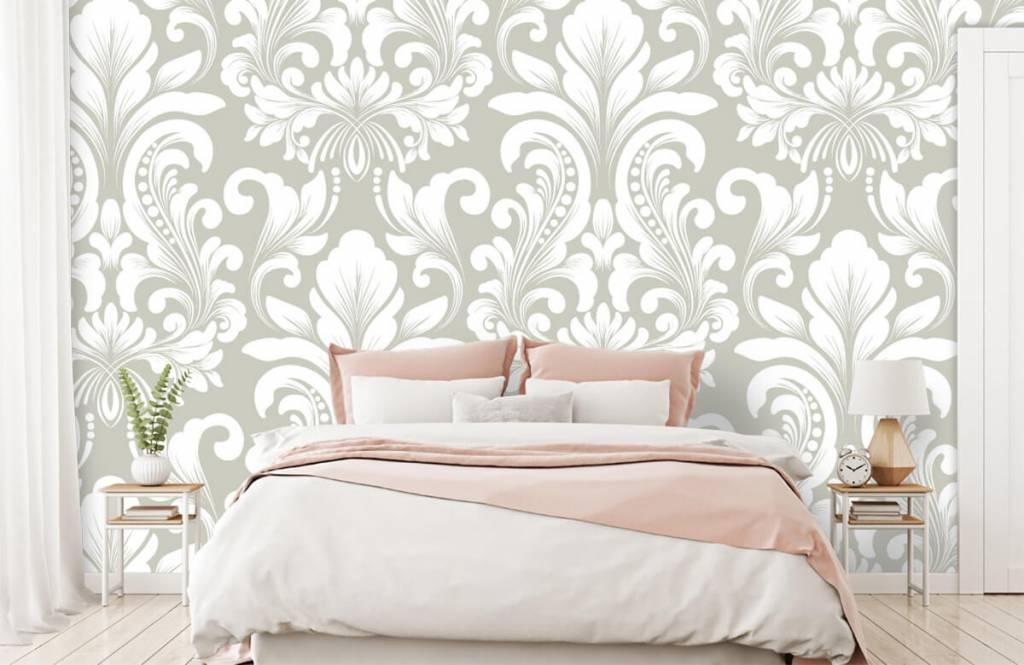 Barok behang - Grijs damast patroon - Slaapkamer 2