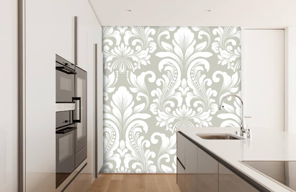 Barok behang - Grijs damast patroon - Slaapkamer 4
