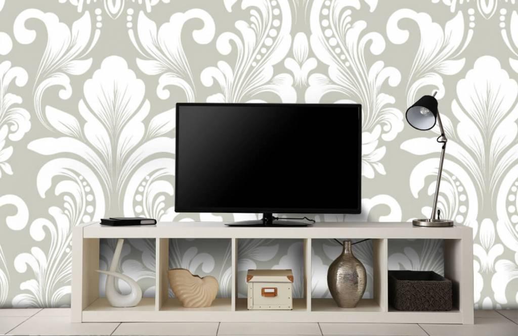 Barok behang - Grijs damast patroon - Slaapkamer 5