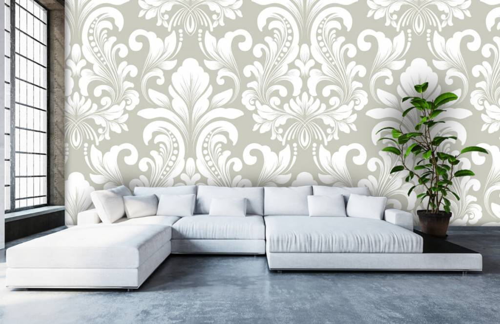 Barok behang - Grijs damast patroon - Slaapkamer 6
