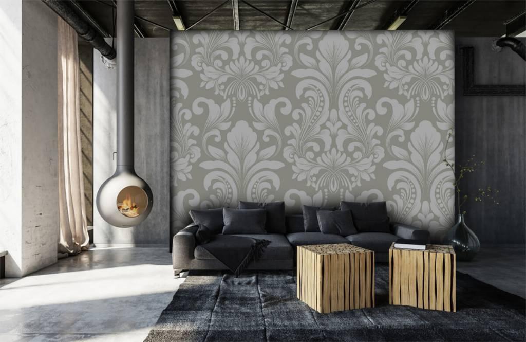 Barok behang - Grijs damast patroon - Slaapkamer 7