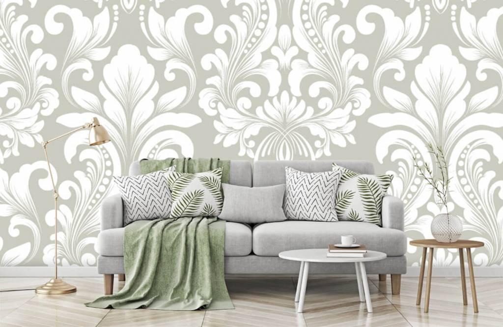 Barok behang - Grijs damast patroon - Slaapkamer 8